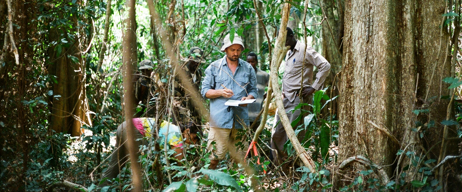 Dr Aaron Davis undertaking research on Arabica coffee in South Sudan forest