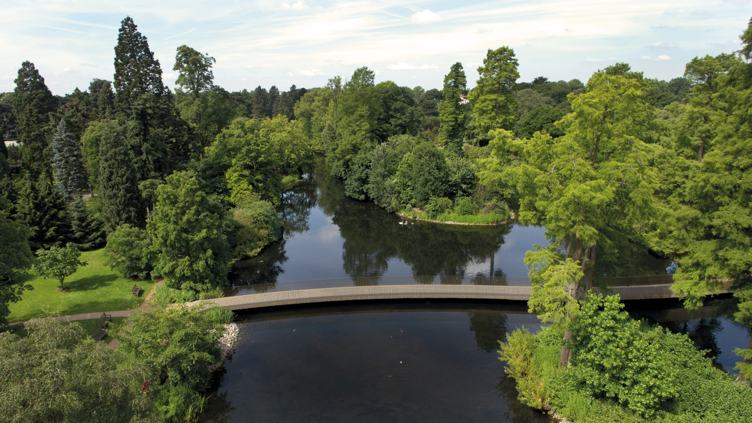 An aerial view of the Lake at Kew