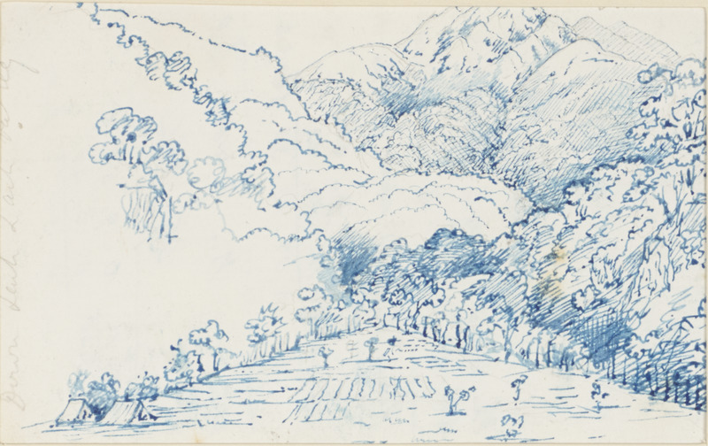 Pen and ink sketch of Lachen Lachoong valley, Sikkim, India, by Joseph Dalton Hooker