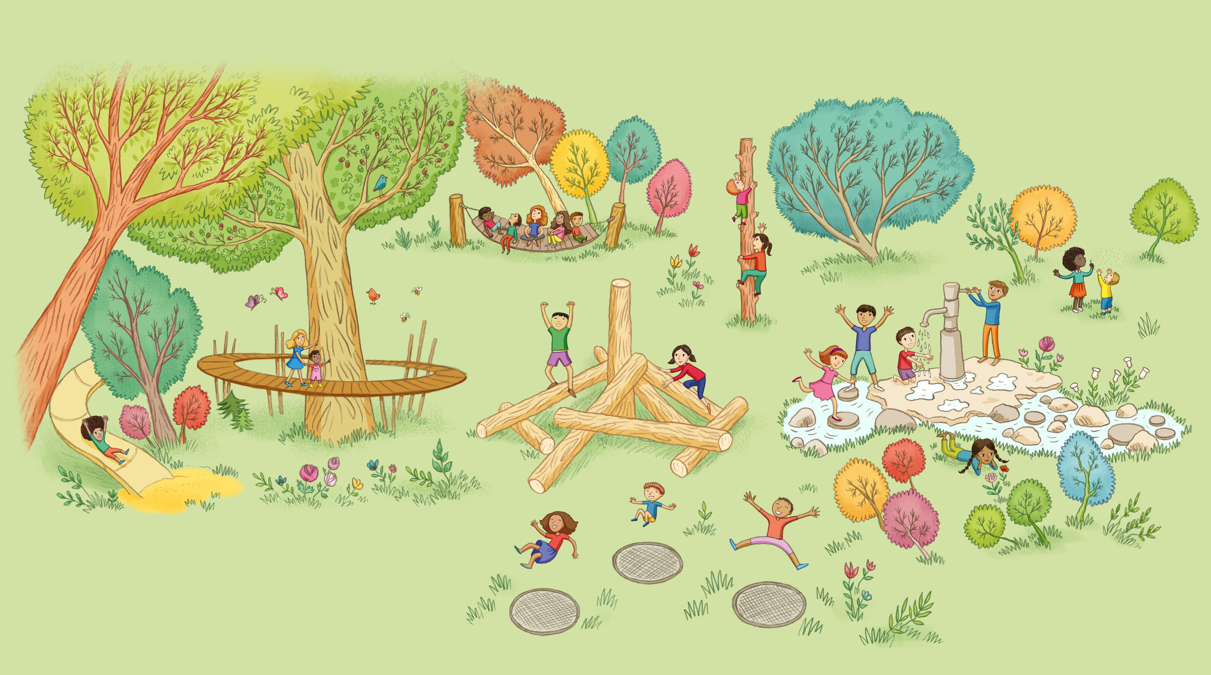 An illustration of children playing in the new children's garden