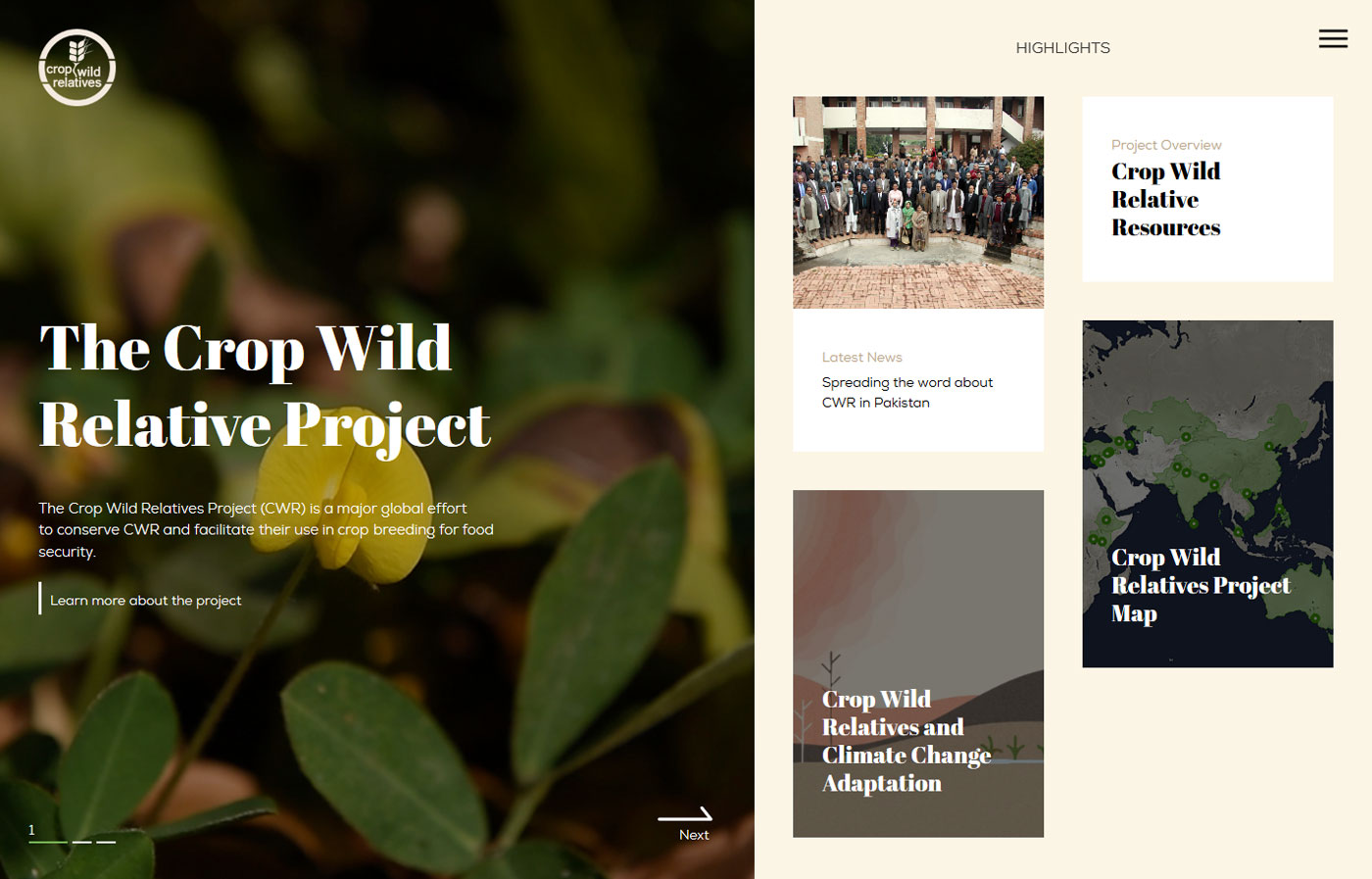 Screenshot of Crop Wild Relatives project website