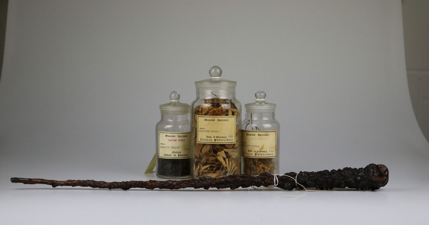 Three jars and a 'wand'