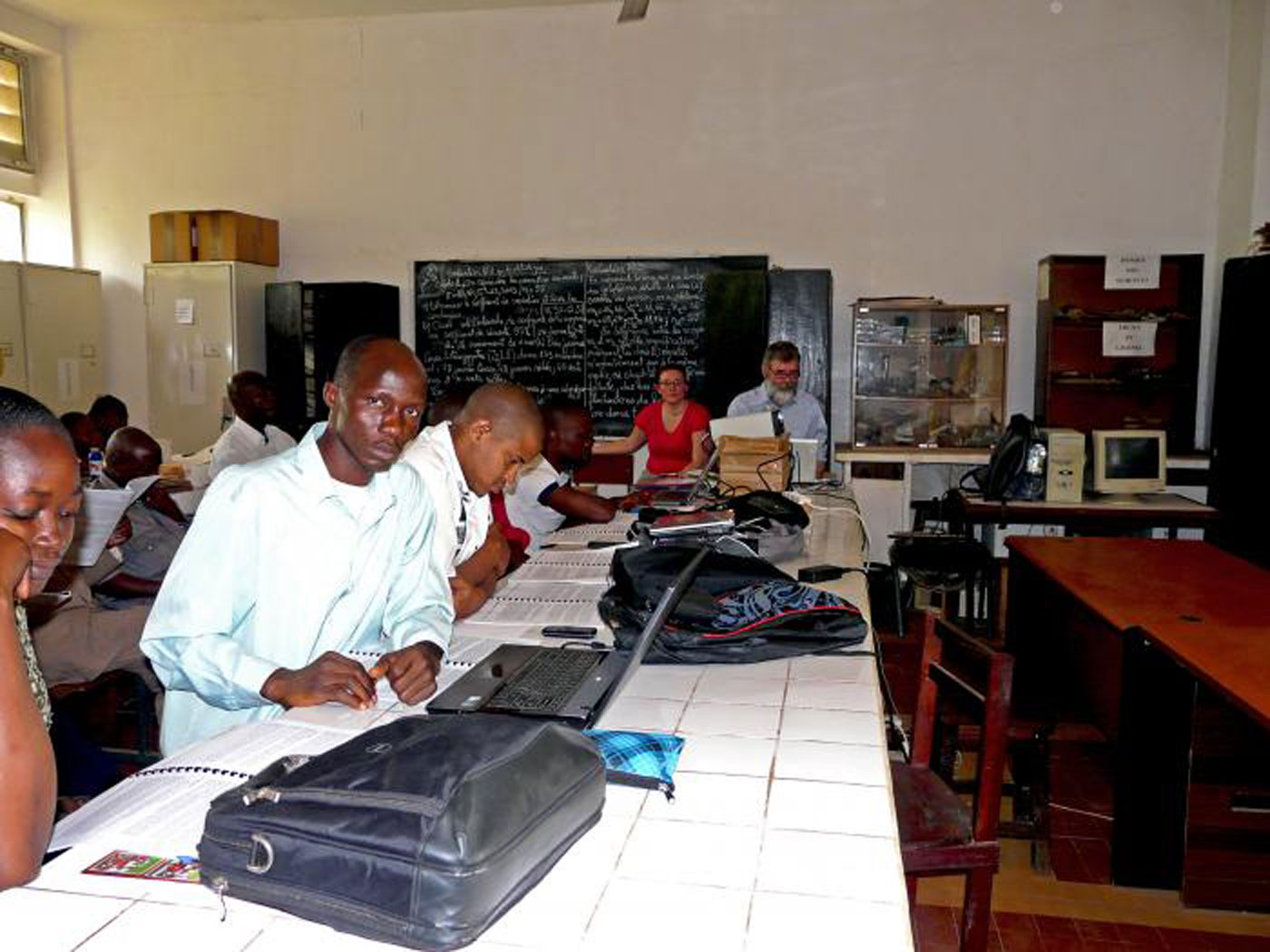 Masters students in classroom in Guinea