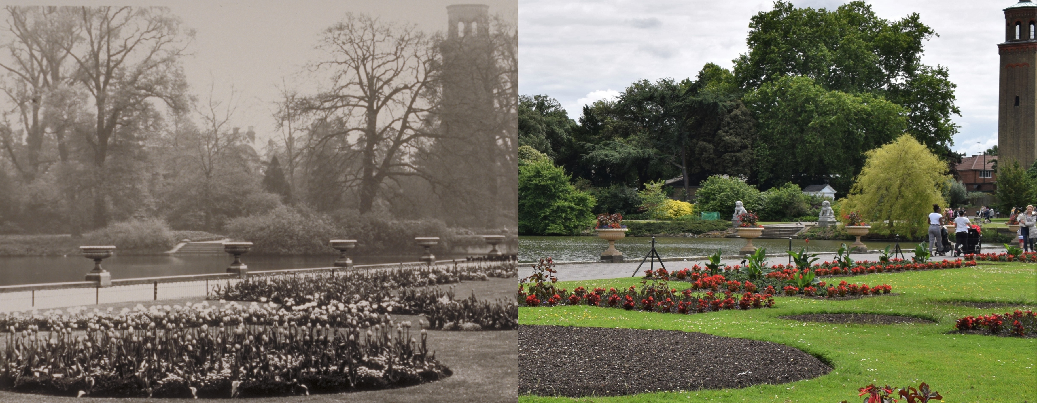 Palm House parterre then and now