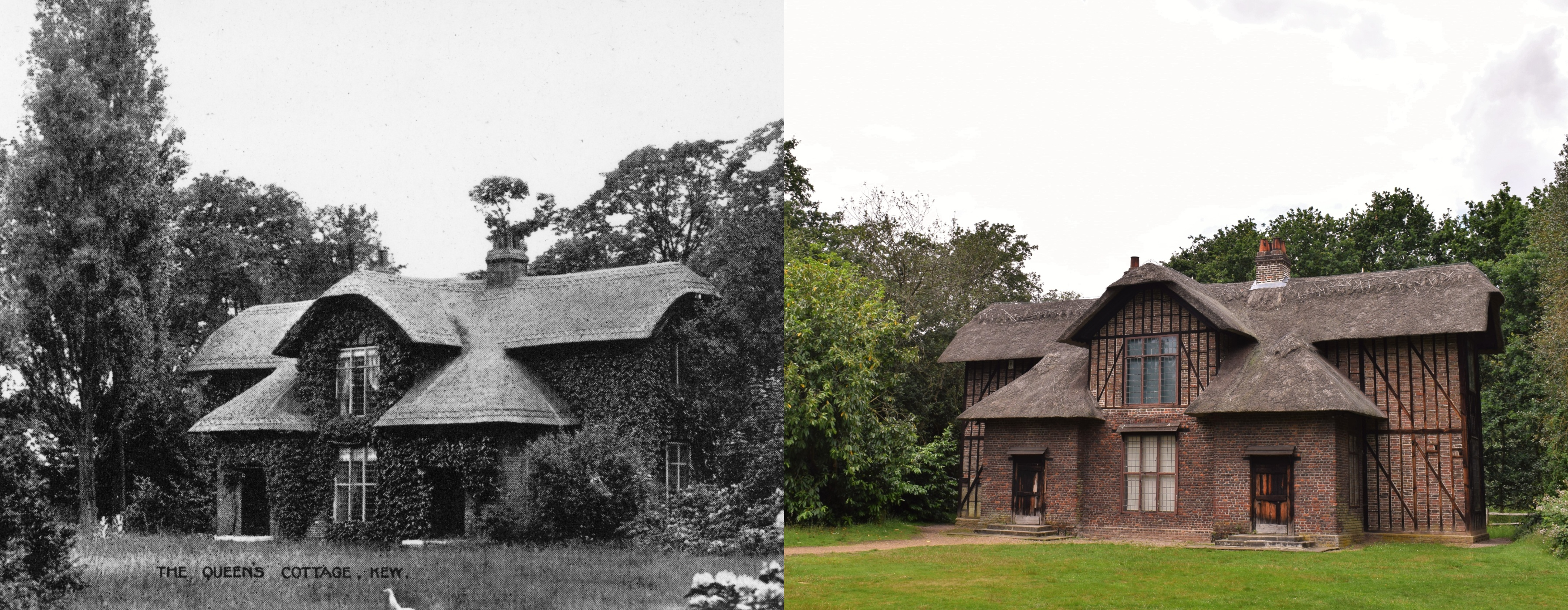 Queen Charlotte's Cottage then and now © Board of Trustees, RBG Kew | © Ellen McHale/RBG Kew