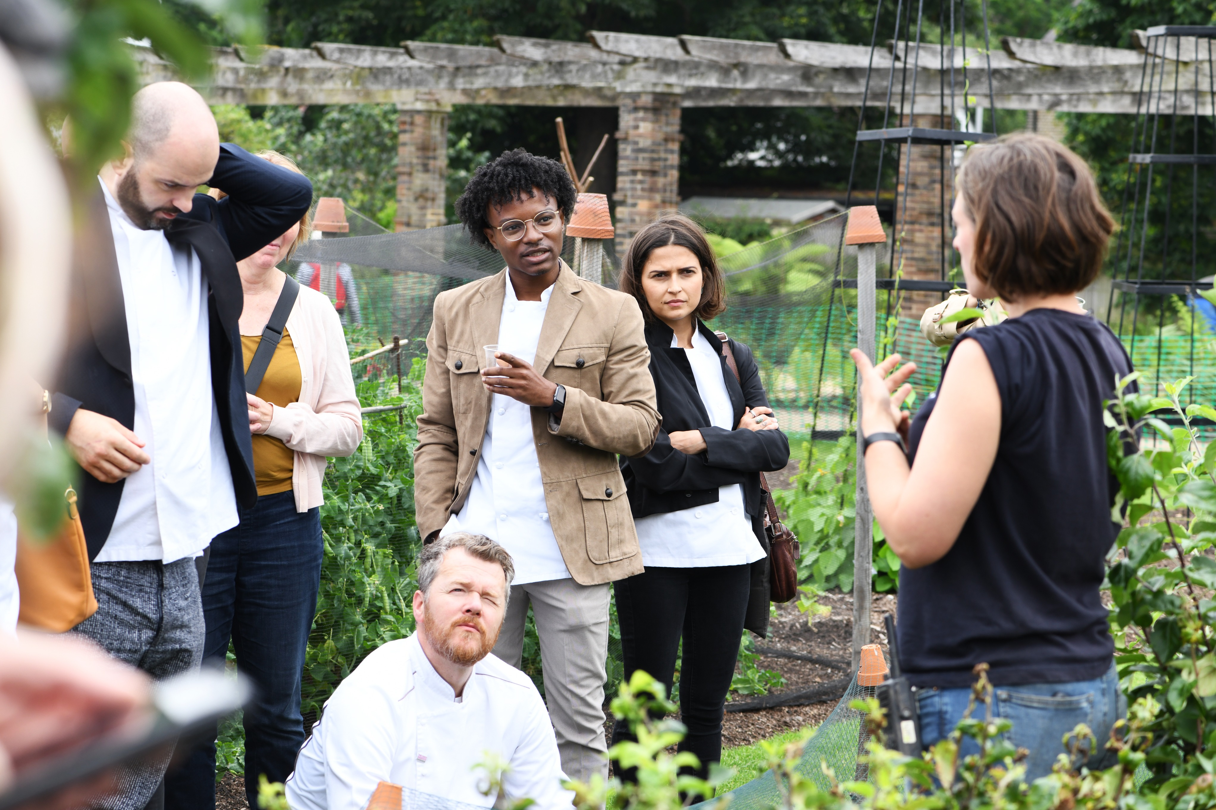 The chefs learning about our work in the Kitchen Garden