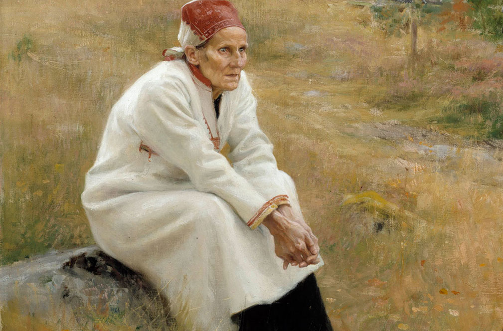 Painting of Larin Paraske sat down in a field.