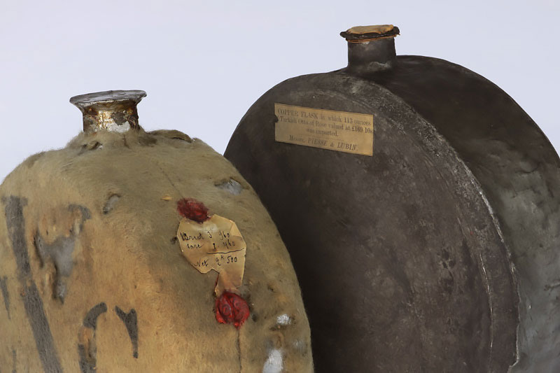 Two rusty flasks