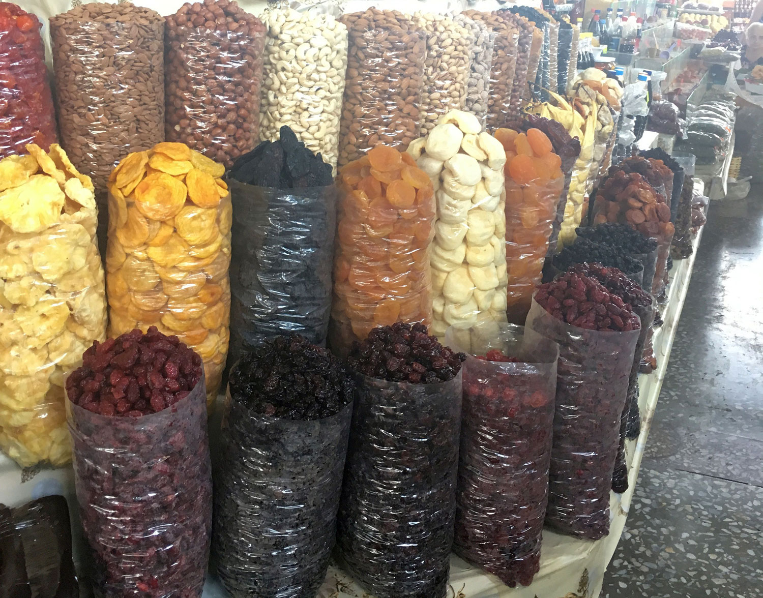 Bags of fruit in Armenian market.