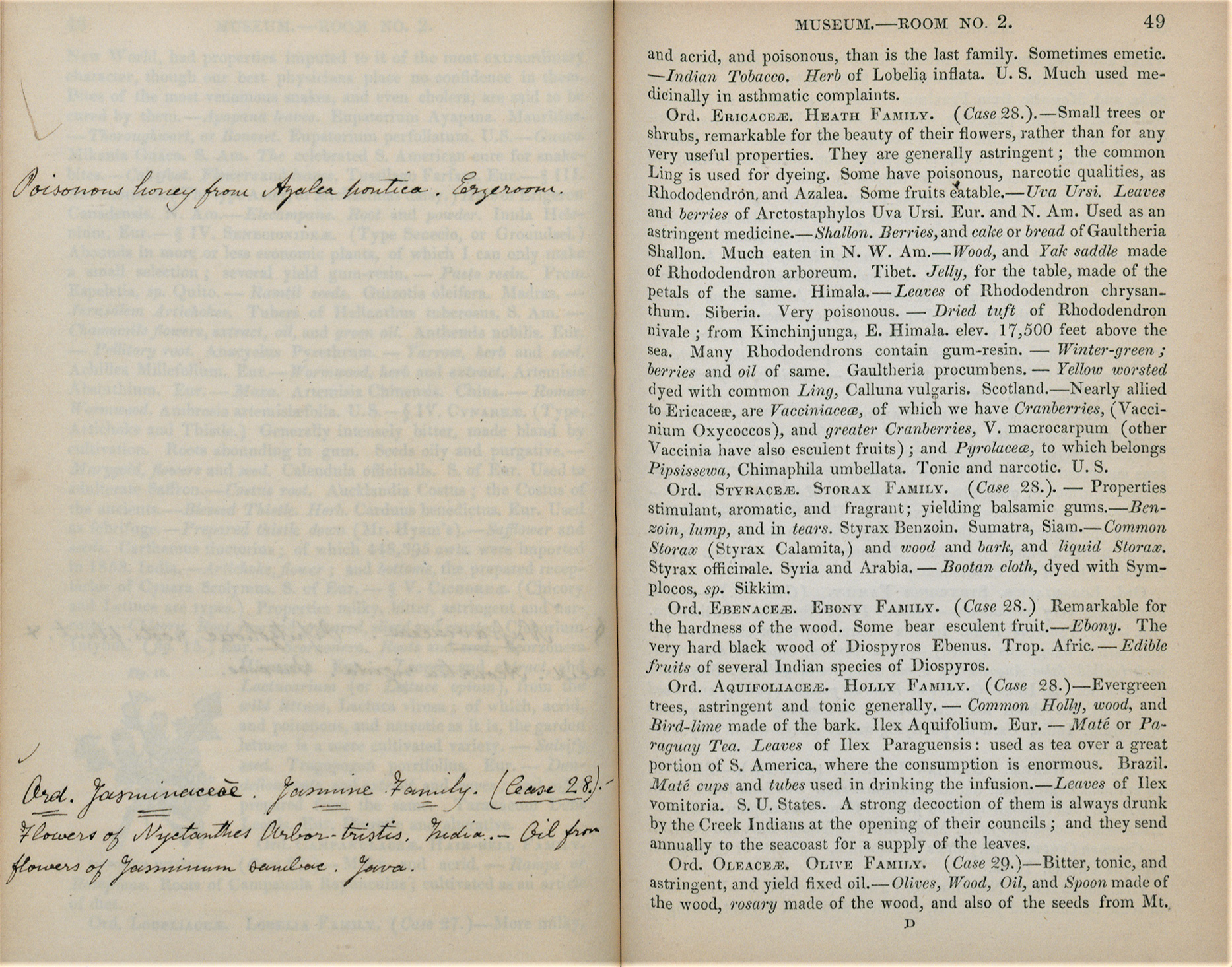 Annotations shown alongside a page from Kew's museum guide book