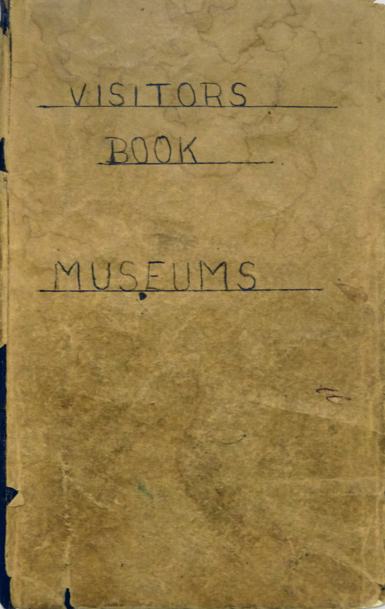 Museum visitors book outside cover