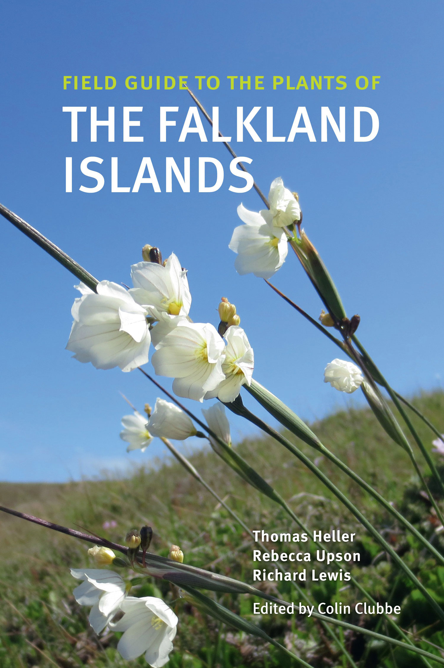 Cover of the Falklands field guide with a white flower in front of blue sky