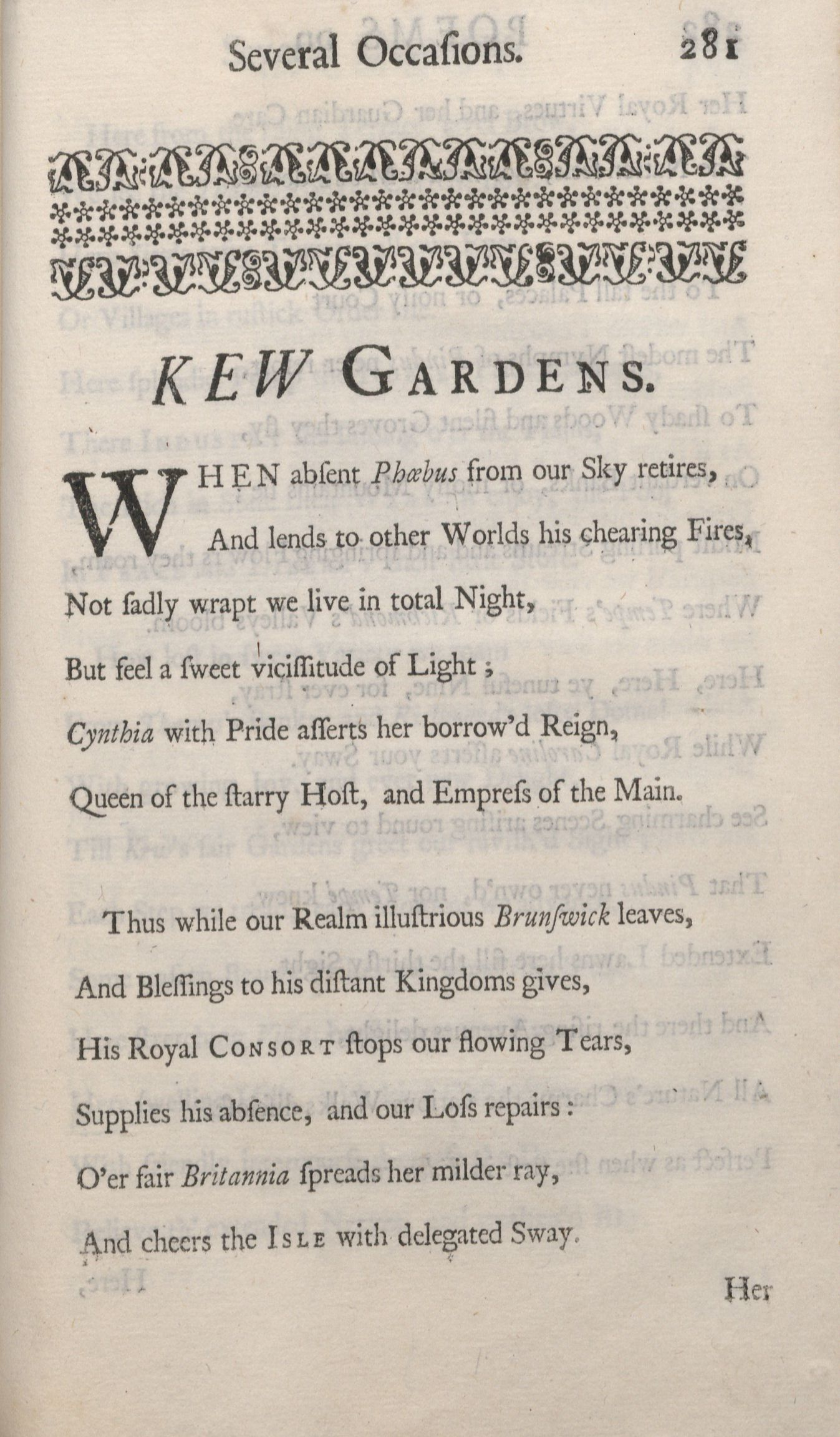 Opening page of 'Kew Gardens' poem by John Whaley