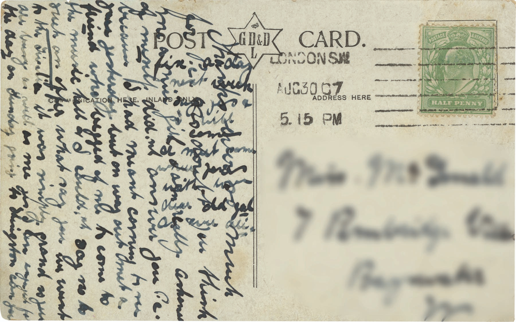 Postcard reads: ''I had meant coming to see you yesterday but on way out met a friend who begged of me to come to the music hall and I couldn't say no to such an offer.'