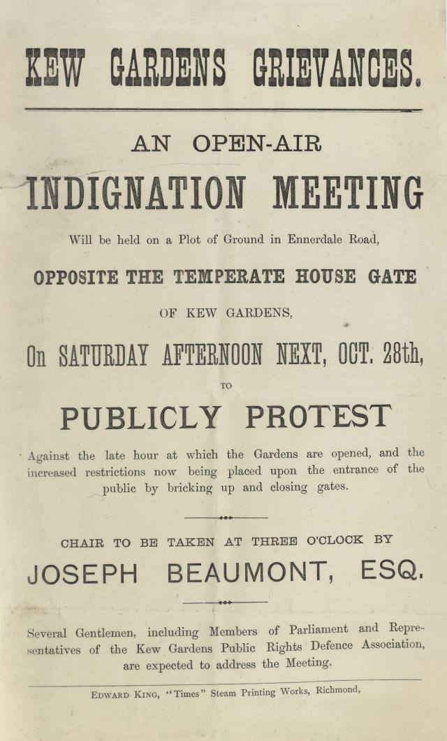 Notice for a public meeting to discuss Kew's restricted public opening hours, 1879