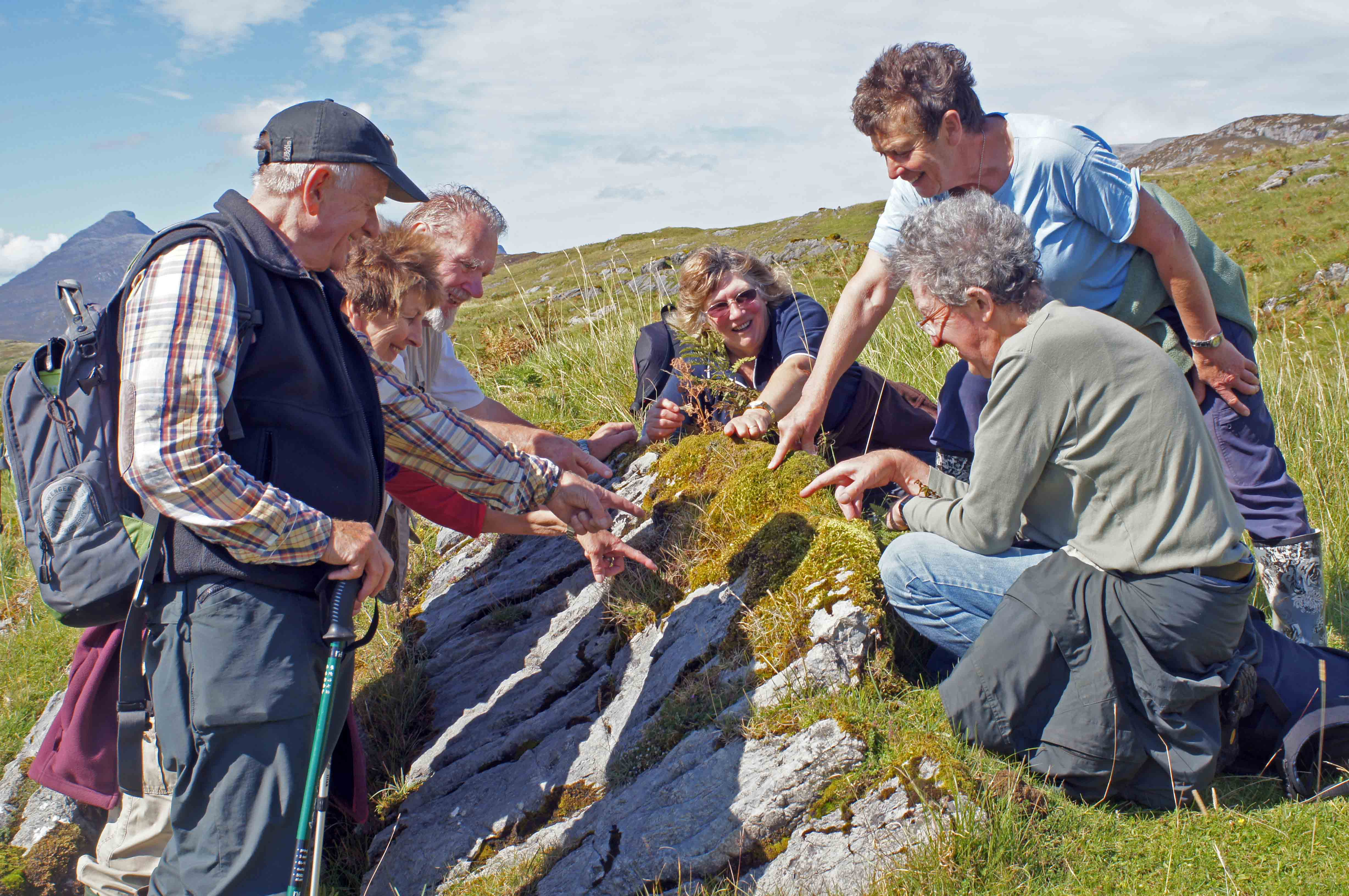 Picture showing six people examining a fungus on an exposed rock on a grassy hillside