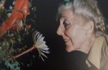 Photo of Margaret Mee and the moonflower, 1988