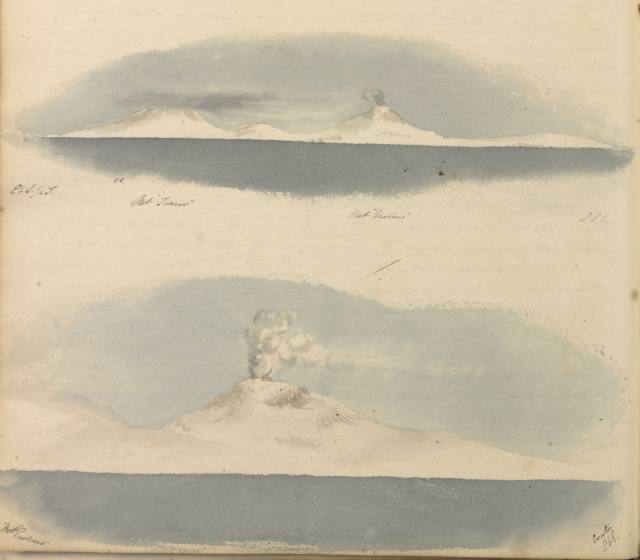 Hooker's paintings of Mount Erebus and Mount Terror