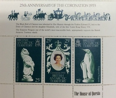 A page from the coronation anniversary stamp album showing 'The black bull of Clarence'