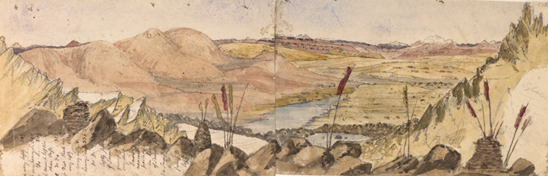 Hookers sketch of the Chomaloo lake seen from Donkia Pass