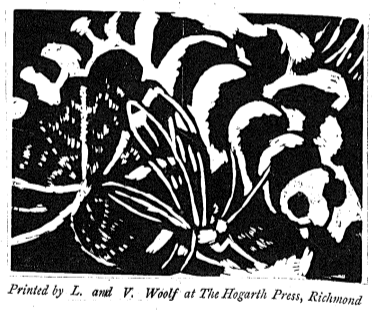 Photo of Vanessa Bell's woodcut print for the 1919 edition of Woolf's Kew Gardens