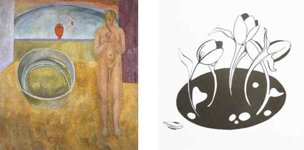 Photo of Vanessa Bell's painting: The Tub and Livi Mills illustration