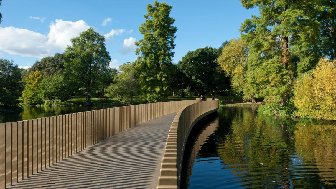 The Lake and Sackler Crossing in the heart of our Arboretum