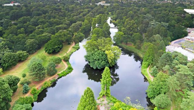 Aerial view of the Lake at Kew Gardens