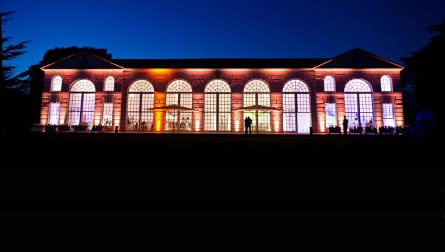 The Orangery restaurant at night