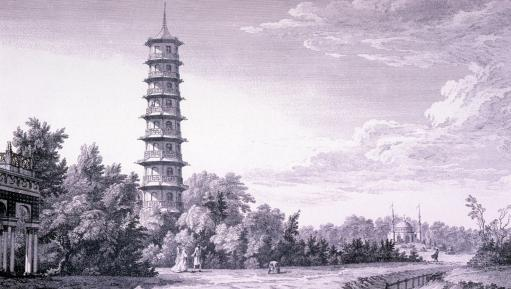 Illustration of the Great Pagoda with the Alhambra and Mosque