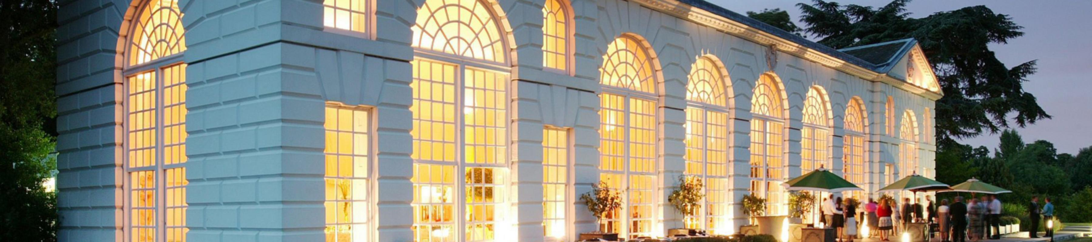 Exterior of the Orangery at dusk