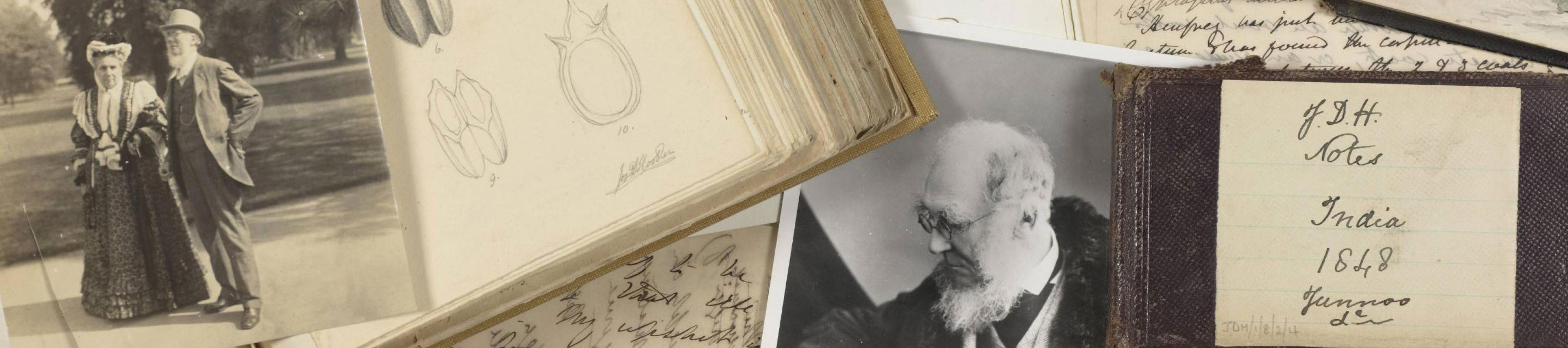 A collage of photos and letters related to Joseph Hooker