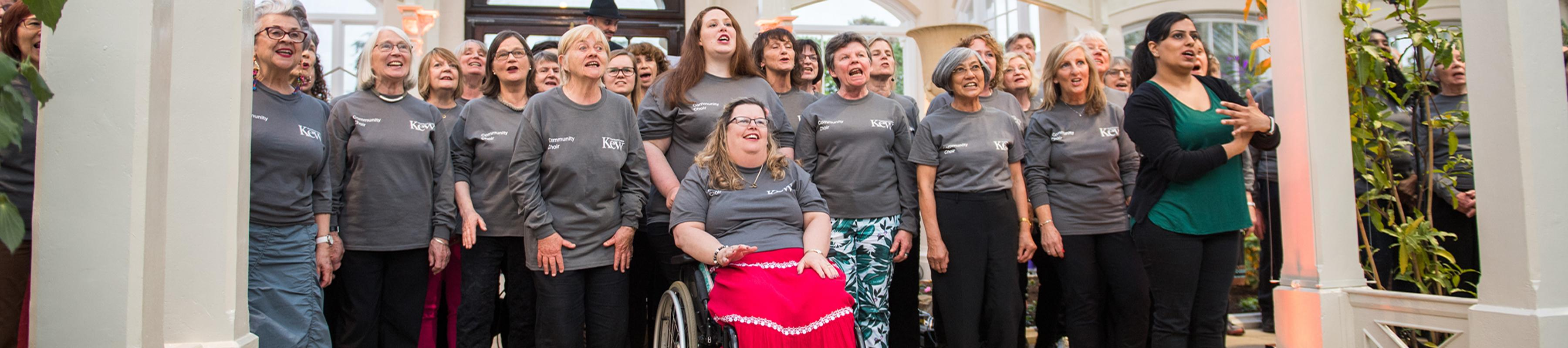 The community choir singing in the Temperate House