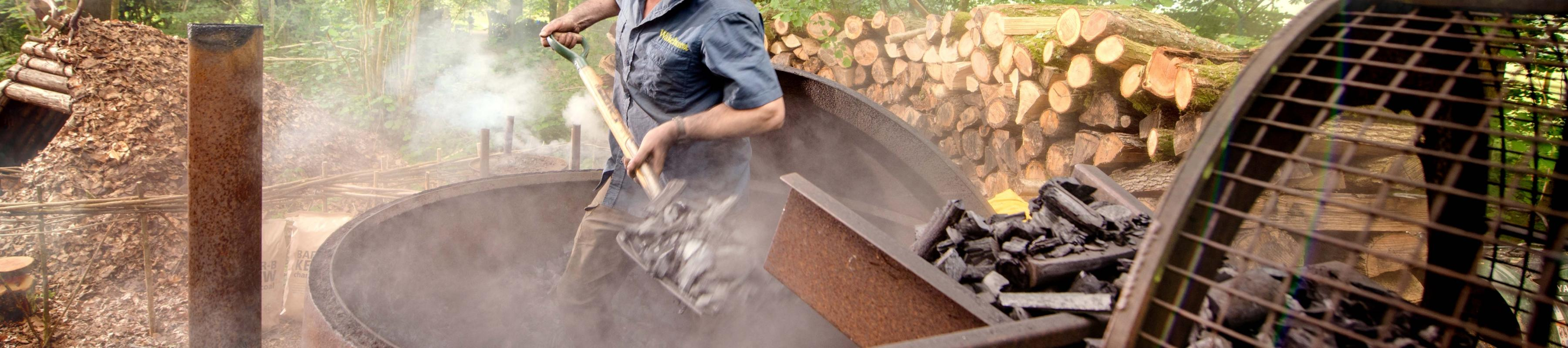 Charcoal-making at Wakehurst