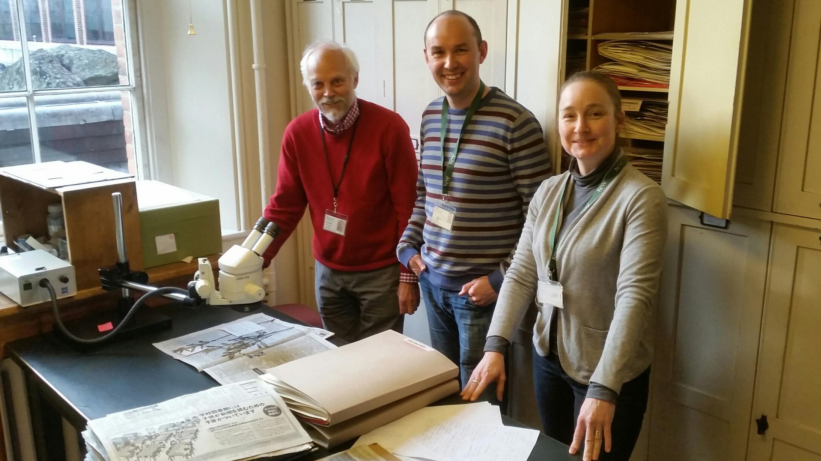 Image showing The top new species scorers at Kew for 2015 all with over 20 species published. Left to right: John Wood, 25 new convolvulaceae; Ian Darbyshire, >20 African acanthaceae, and Eve Lucas, >20 Brazilian myrtaceae.