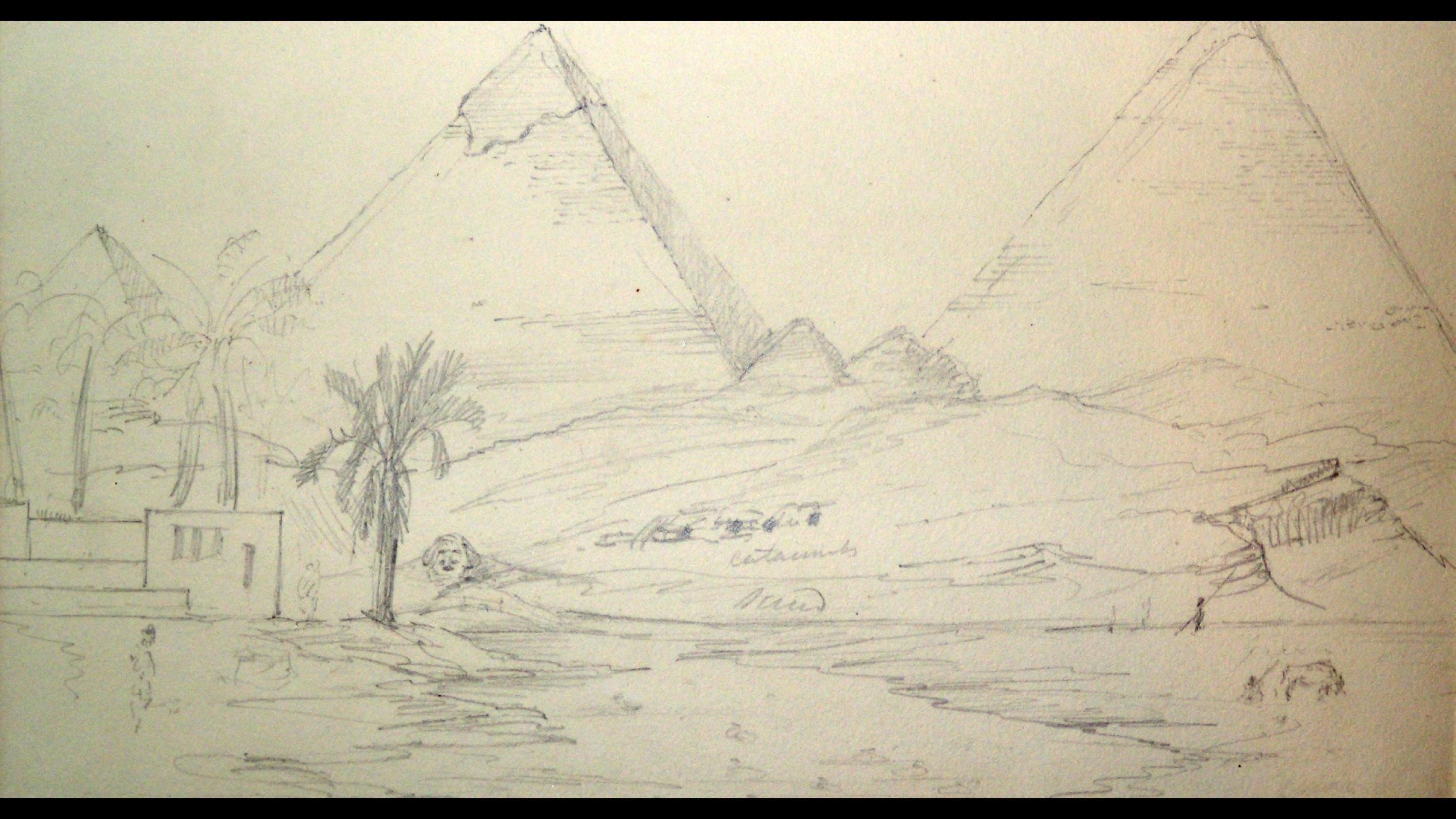 'Pyramids', pencil sketch by Joseph Hooker, 1847