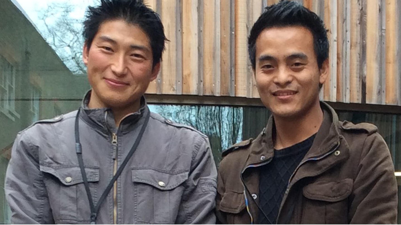 Kencho Dorji and Kezang Tobgay outside the Kew Herbarium