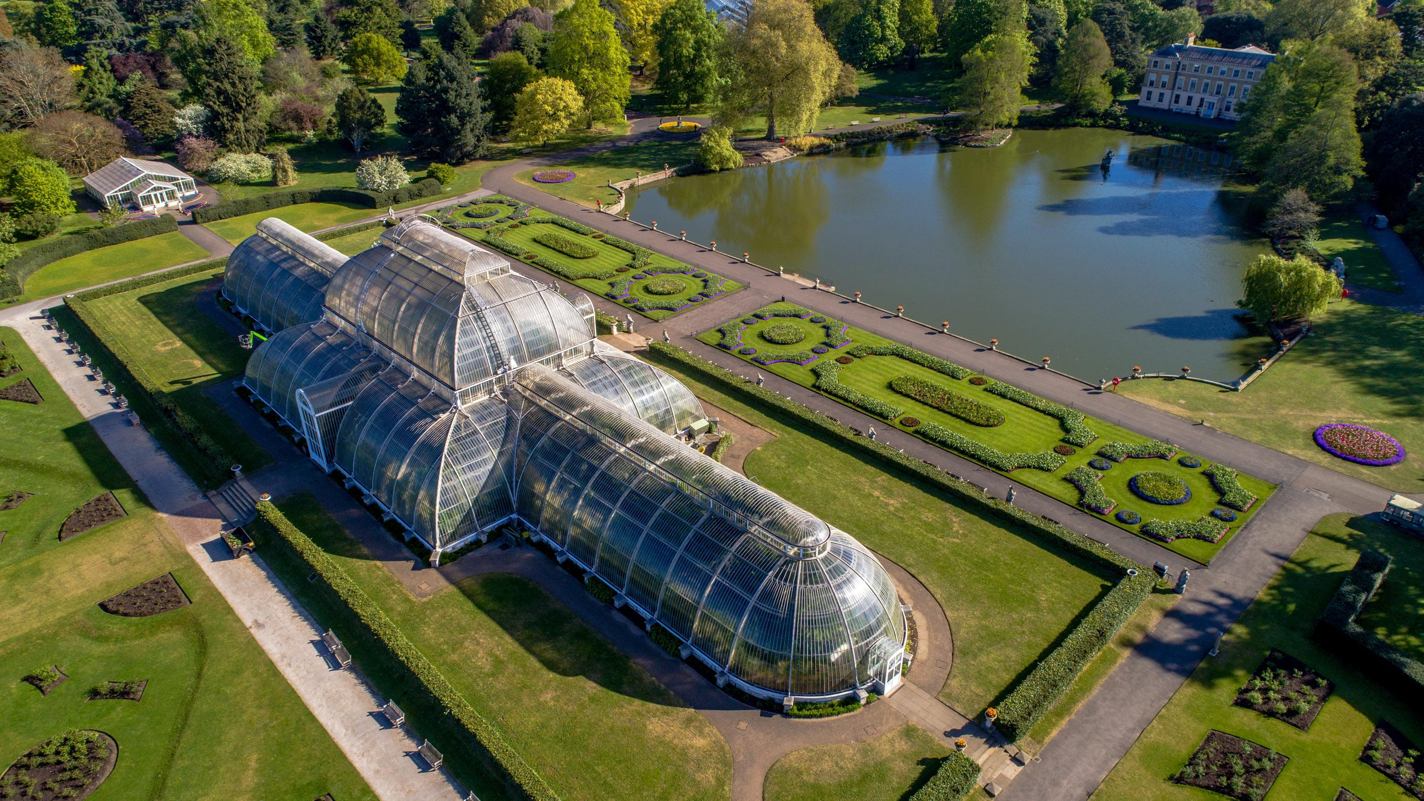 Aerial view of the Palm House at Kew