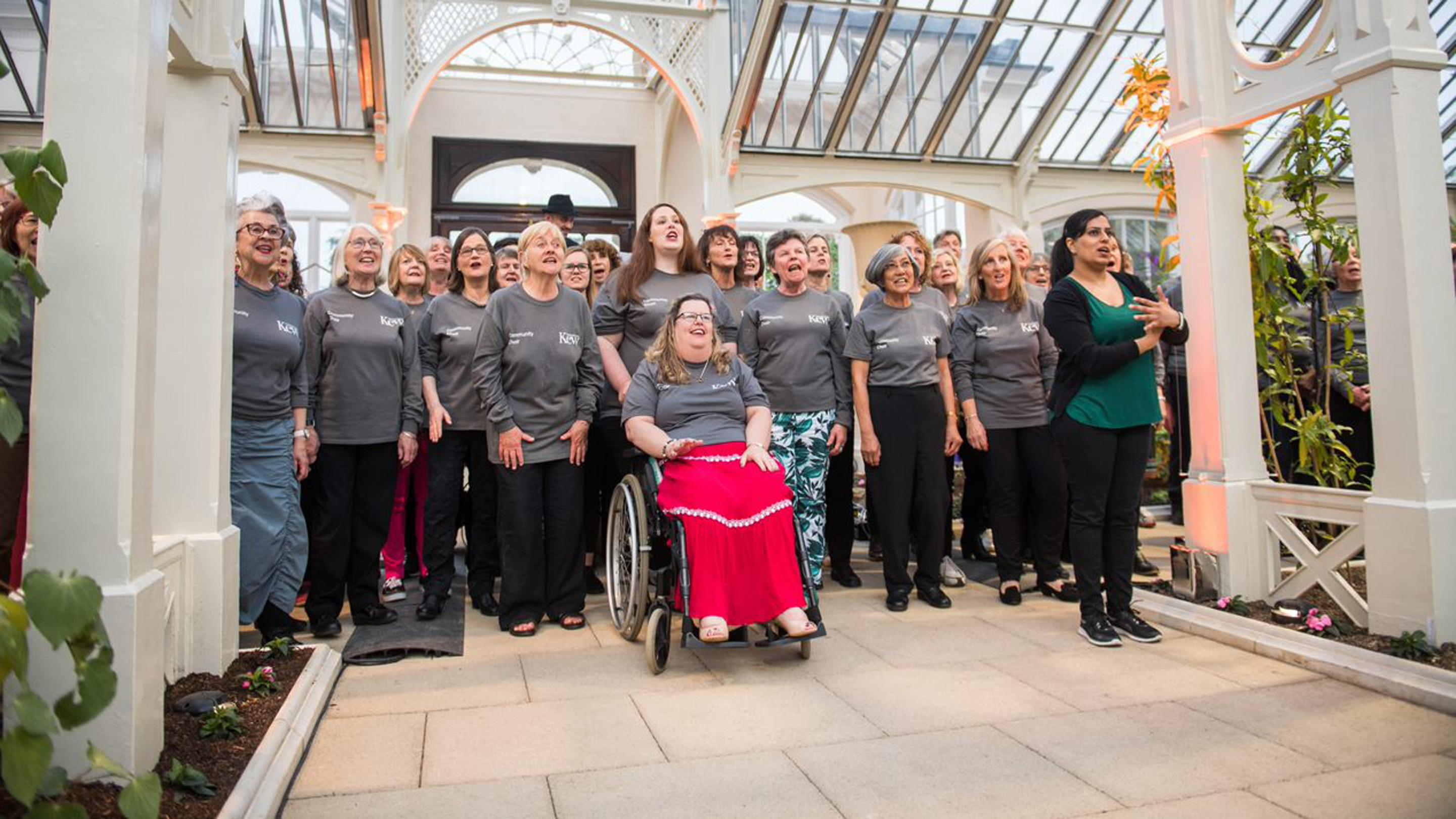 Community choir performing in the Temperate House