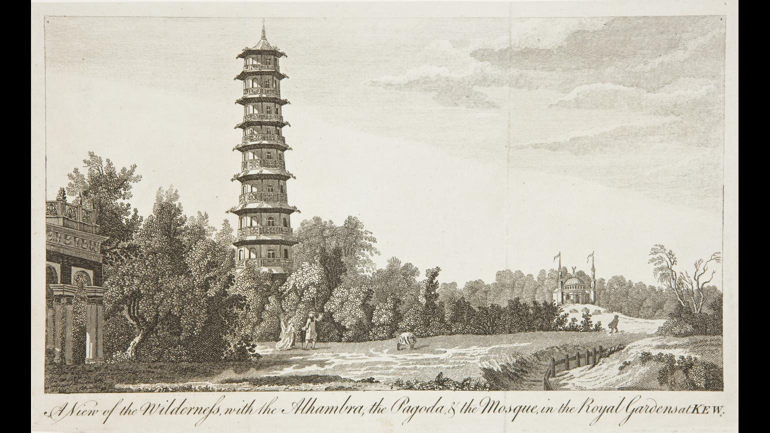A paper sketch of the Great Pagoda
