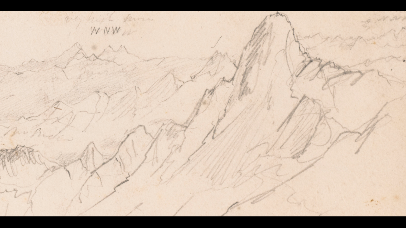 Detail of field sketch of Everest by Joseph Dalton Hooker c. 1848
