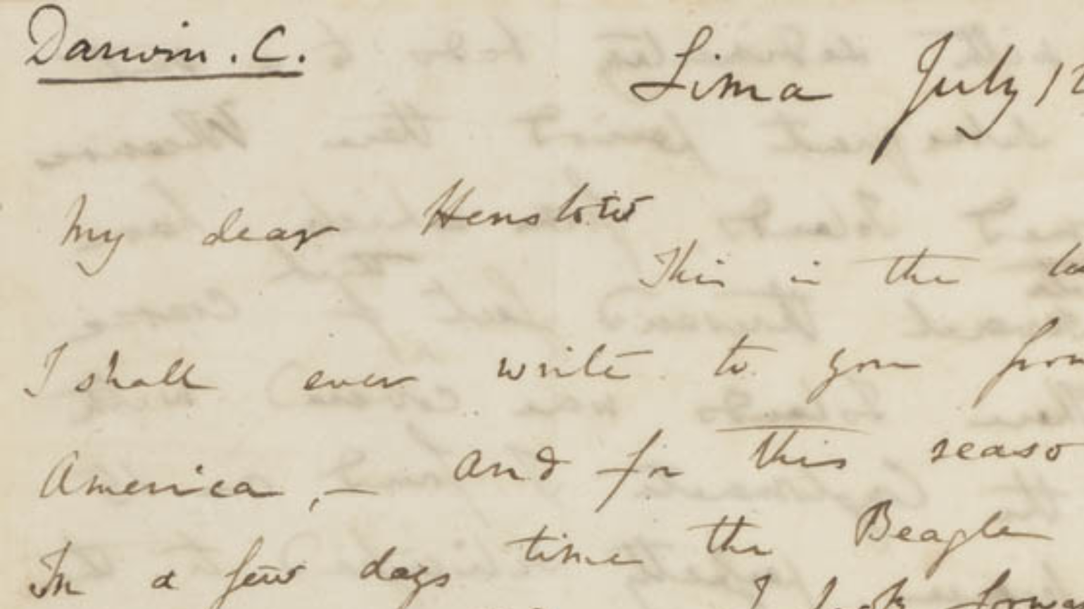 Charles Darwin writes to his Professor at Cambridge as he leaves the shores of South America for the Galapagos Islands on board the H.M.S. Beagle, summer 1835
