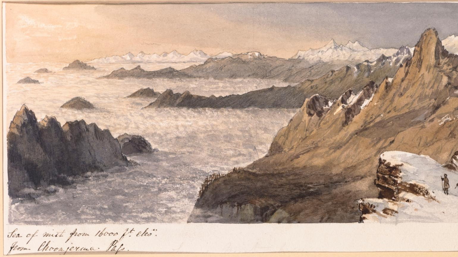 Watercolour illustration of Mount Everest by Walter Hood Fitch, c. 1848