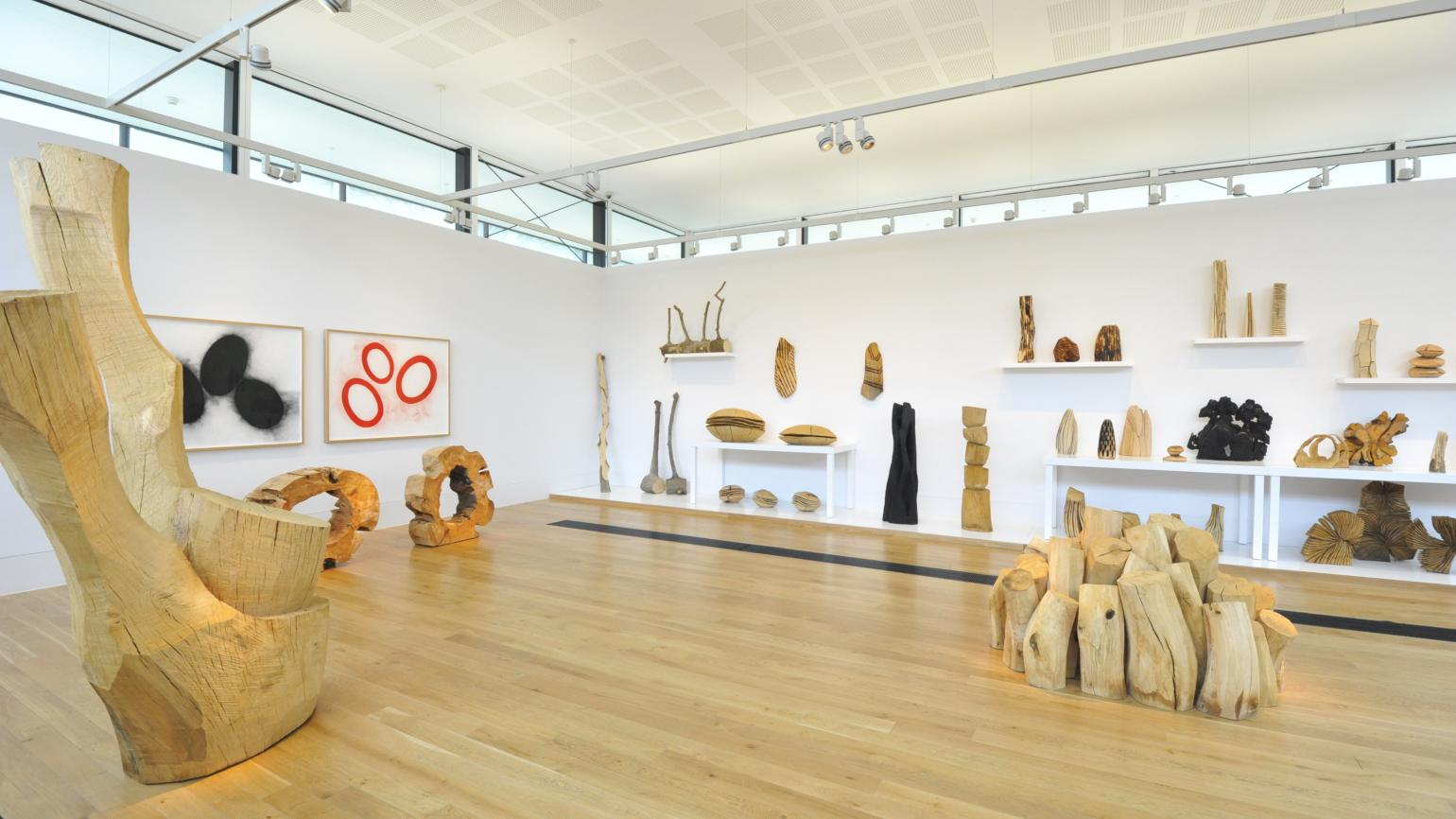 Wooden sculptures by David Nash exhibited in the Shirley Sherwood Gallery of Botanical Art
