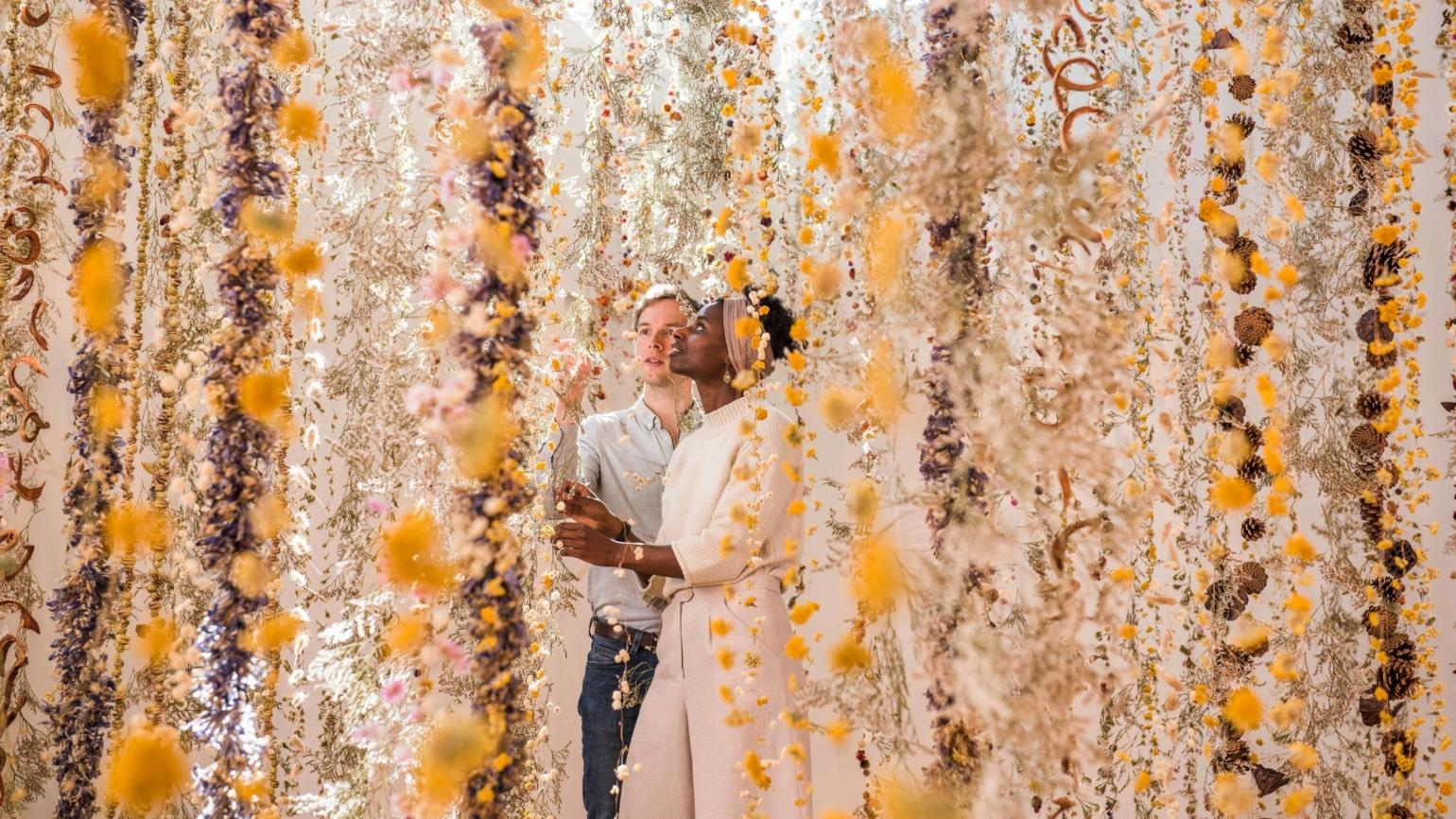 'Life in death,' a temporary installation of 1,000 flower garlands by Rebecca Louise Law at the Shirley Sherwood Gallery of Botanical Art