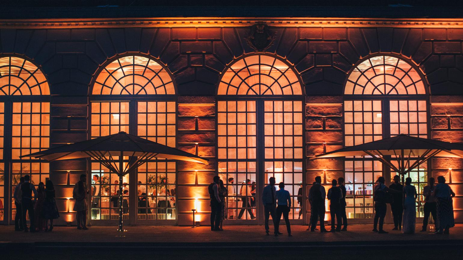 The Orangery exterior at night