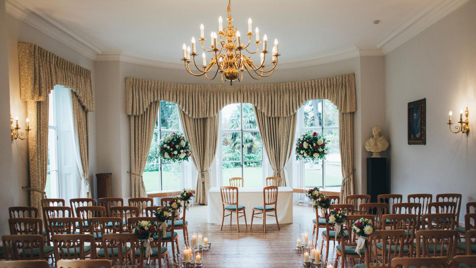 An indoor ceremony at Cambridge Cottage