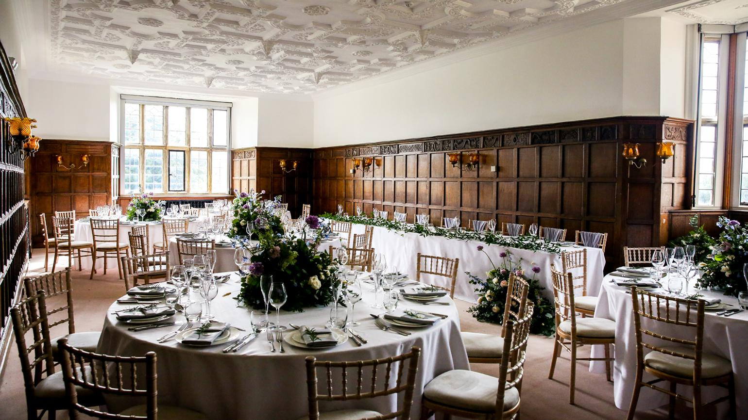 Table settings inside the Wakehurst Mansion