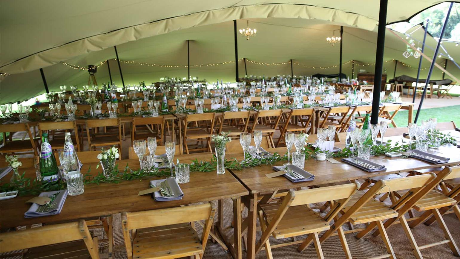 Inside a wedding marquee at Wakehurst