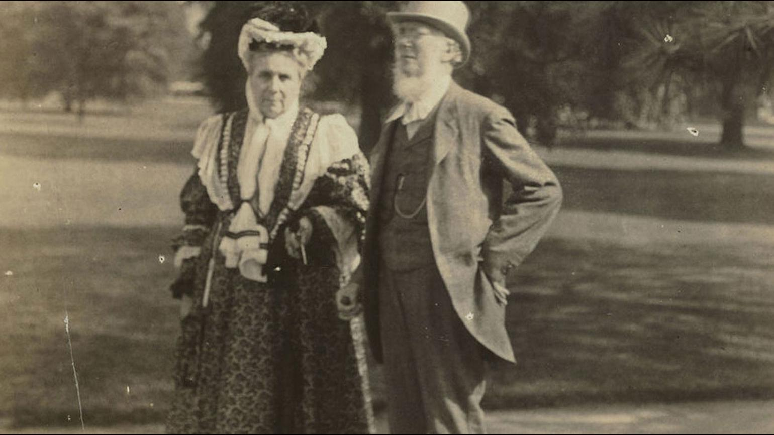 Black and white photo of Hyacinth and Joseph Hooker standing